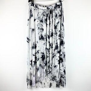 SPENSE  Boho Bleach Tie-Dye Fringe Maxi Wrap Skirt